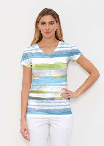 Multi Stripe Blue (7843) ~ Signature Cap Sleeve V-Neck Shirt