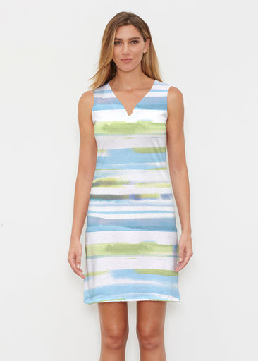 Multi Stripe Blue (7843) ~ Classic Sleeveless Dress