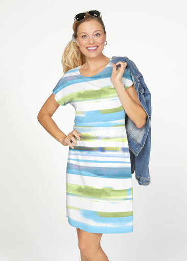 Multi Stripe Blue (7843) ~ Smooth Terry Short Sleeve Crew Dress