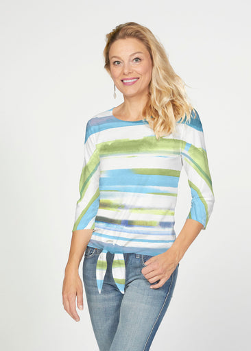Multi Stripe Blue (7843) ~ French Terry Tie 3/4 Sleeve Top