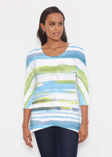 Multi Stripe Blue (7843) ~ Katherine Hi-Lo Thermal Tunic