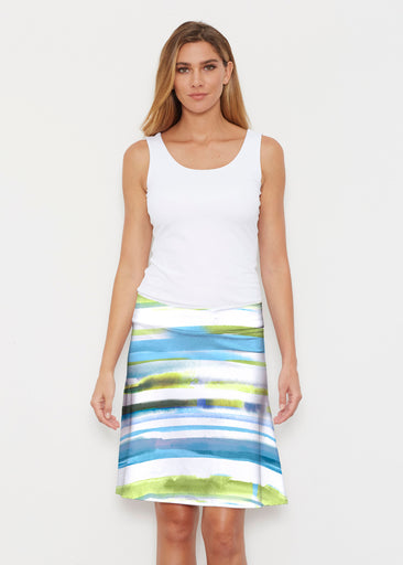 Multi Stripe Blue (7843) ~ Silky Brenda Skirt 21 inch