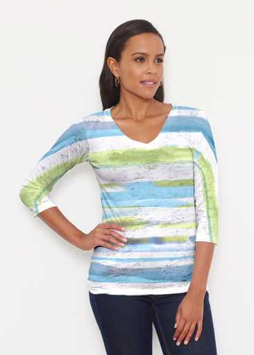 Multi Stripe Blue (7843) ~ Signature 3/4 V-Neck Shirt