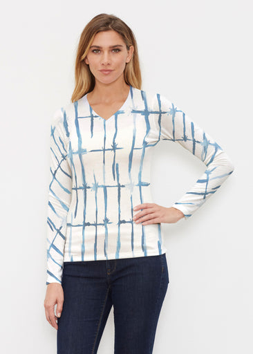 Knotted Tie Dye (7844) ~ Butterknit Long Sleeve V-Neck Top