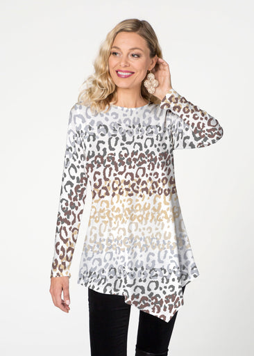 Leopard Ombre (7845) ~ Asymmetrical French Terrry Tunic