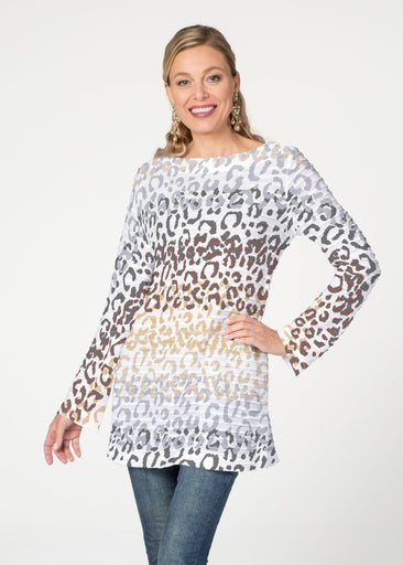 Leopard Ombre (7845) ~ Banded Boatneck Tunic