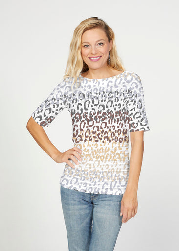 Leopard Ombre (7845) ~ Banded Elbow Sleeve Boat Neck Top