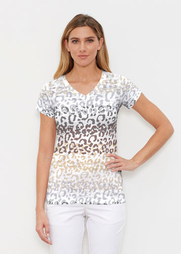 Leopard Ombre (7845) ~ Signature Cap Sleeve V-Neck Shirt