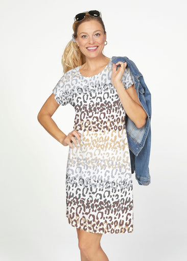 Leopard Ombre (7845) ~ Smooth Terry Short Sleeve Crew Dress