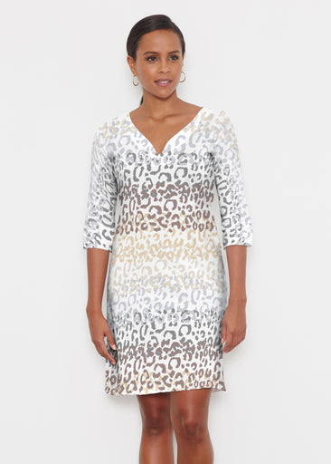 Leopard Ombre (7845) ~ Classic 3/4 Sleeve Sweet Heart V-Neck Dress