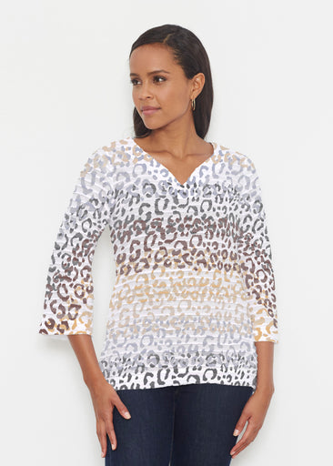 Leopard Ombre (7845) ~ Banded 3/4 Bell-Sleeve V-Neck Tunic