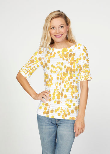 Golden Pome (7846) ~ Banded Elbow Sleeve Boat Neck Top