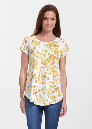 Golden Pome (7846) ~ Signature Short Sleeve Scoop Neck Flowy Tunic
