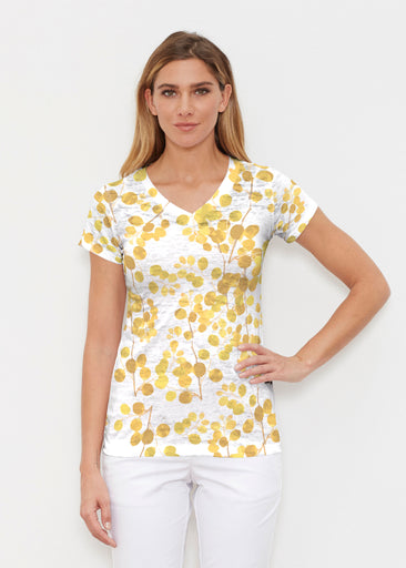 Golden Pome (7846) ~ Signature Cap Sleeve V-Neck Shirt