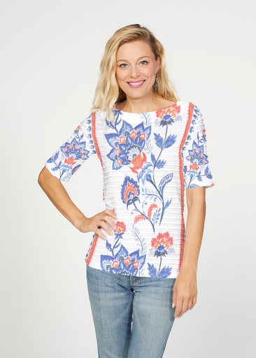 Bohemian Chintz (7847) ~ Banded Elbow Sleeve Boat Neck Top
