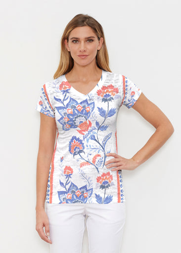 Bohemian Chintz (7847) ~ Signature Cap Sleeve V-Neck Shirt