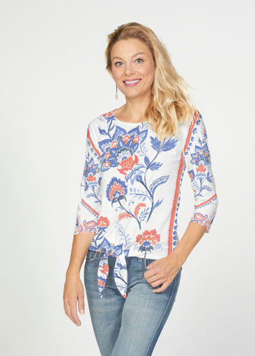 Bohemian Chintz (7847) ~ French Terry Tie 3/4 Sleeve Top