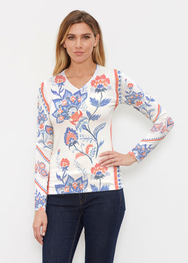 Bohemian Chintz (7847) ~ Butterknit Long Sleeve V-Neck Top