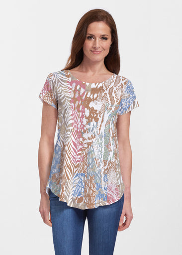 Jungle Warrior (7849) ~ Signature Short Sleeve Scoop Neck Flowy Tunic