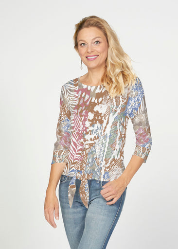 Jungle Warrior (7849) ~ French Terry Tie 3/4 Sleeve Top
