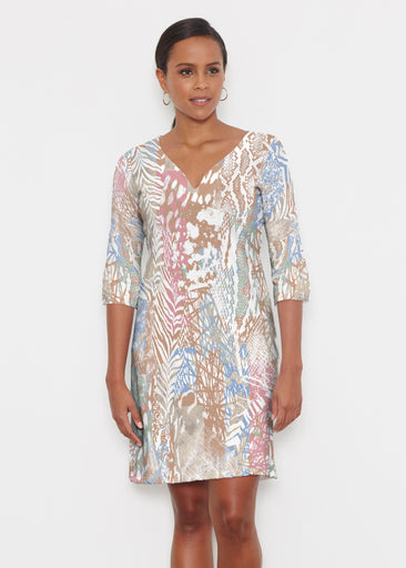 Jungle Warrior Blue (7849) ~ Classic 3/4 Sleeve Sweet Heart V-Neck Dress
