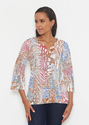 Jungle Warrior Blue (7849) ~ Banded 3/4 Bell-Sleeve V-Neck Tunic