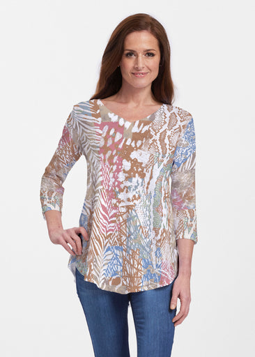 Jungle Warrior Blue (7849) ~ Signature V-neck Flowy Tunic