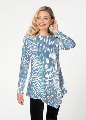 Jungle Warrier Blue (7850) ~ Asymmetrical French Terry Tunic