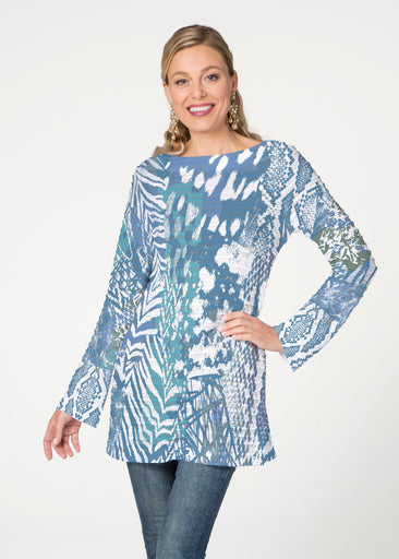 Jungle Warrior Blue  (7850) ~ Banded Boatneck Tunic