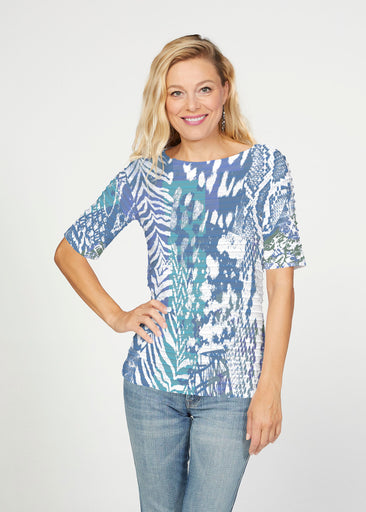 Jungle Warrior Blue (7850) ~ Banded Elbow Sleeve Boat Neck Top