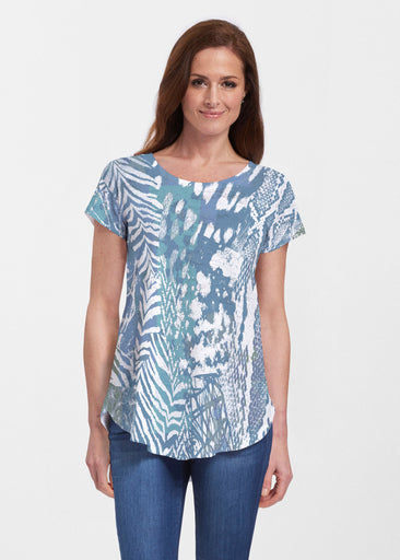 Jungle Warrior Blue (7850) ~ Signature Short Sleeve Scoop Neck Flowy Tunic
