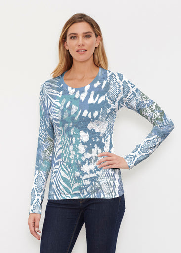 Jungle Warrior Blue (7850) ~ Thermal Long Sleeve Crew Shirt