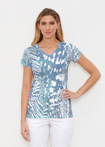 Jungle Warrior Blue (7850) ~ Signature Cap Sleeve V-Neck Shirt