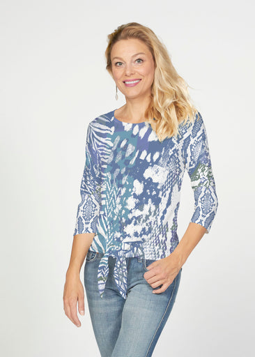 Jungle Warrior Blue (7850) ~ French Terry Tie 3/4 Sleeve Top