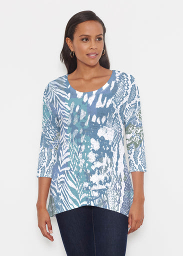 Jungle Warrior Blue (7850) ~ Katherine Hi-Lo Thermal Tunic