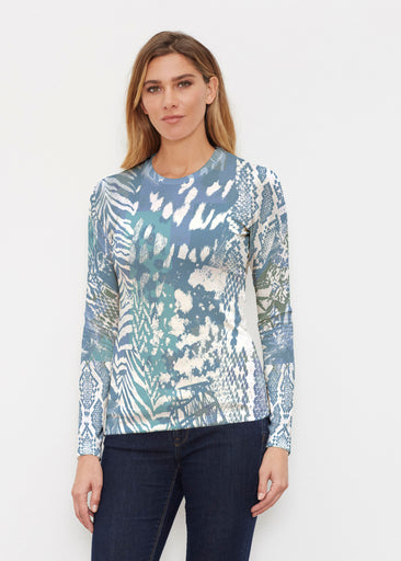 Jungle Warrior Blue (7850) ~ Butterknit Long Sleeve Crew Top