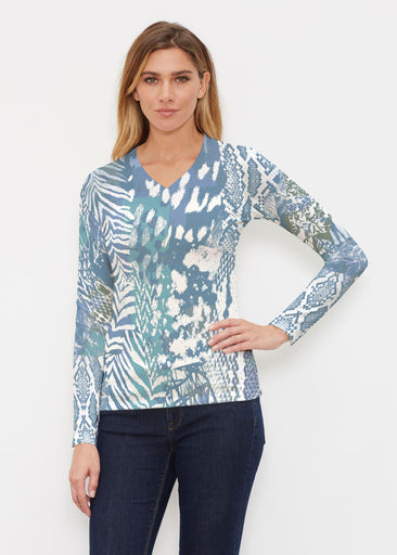 Jungle Warrior Blue (7850) ~ Butterknit Long Sleeve V-Neck Top