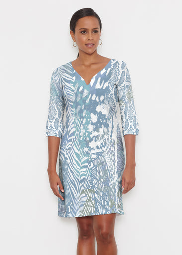 Jungle Warrior Blue (7850) ~ Classic 3/4 Sleeve Sweet Heart V-Neck Dress