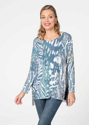 Jungle Warrior Blue (7850) Slouchy Butterknit Top