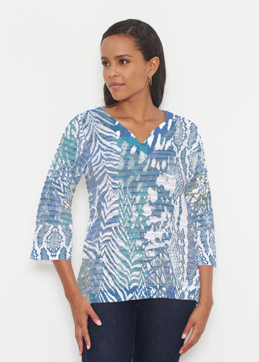 Jungle Warrior Blue (7850) ~ Banded 3/4 Bell-Sleeve V-Neck Tunic
