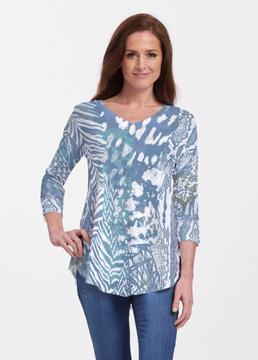 Jungle Warrior Blue (7850) ~ Signature V-neck Flowy Tunic
