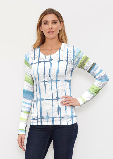 Knotted Stripe (7853) ~ Thermal Long Sleeve Crew Shirt