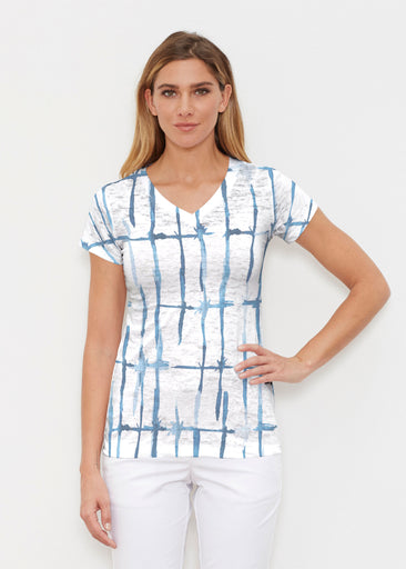 Knotted Stripe (7853) ~ Signature Cap Sleeve V-Neck Shirt