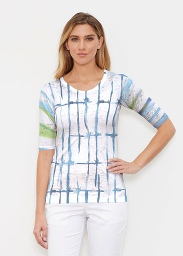 Knotted Stripe (7853) ~ Signature Elbow Sleeve Crew Shirt