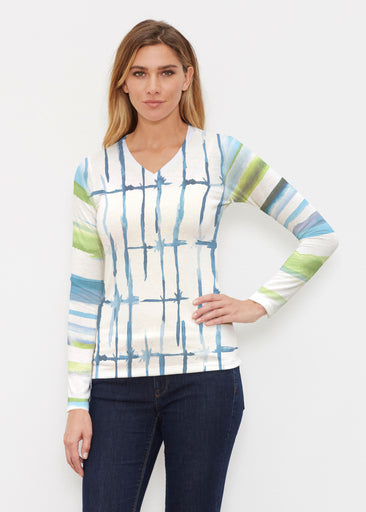 Knotted Stripe (7853) ~ Butterknit Long Sleeve V-Neck Top