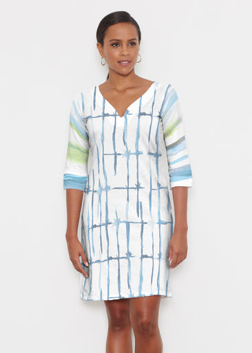 Knotted Stripe (7853) ~ Classic 3/4 Sleeve Sweet Heart V-Neck Dress