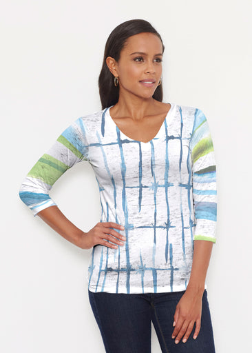 Knotted Stripe (7853) ~ Signature 3/4 V-Neck Shirt