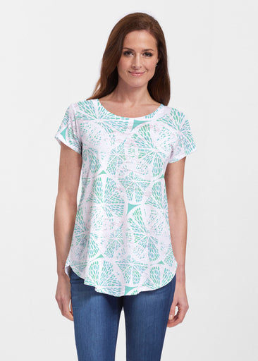 Aqua Citrus (7855) ~ Signature Short Sleeve Scoop Neck Flowy Tunic