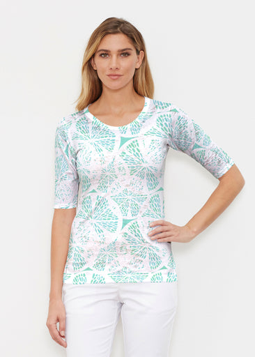 Aqua Citrus (7855) ~ Signature Elbow Sleeve Crew Shirt