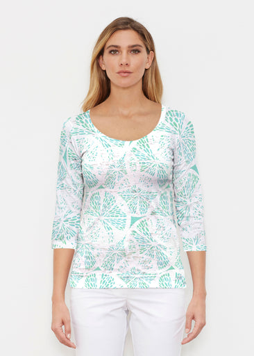 Aqua Citrus (7855) ~ Signature 3/4 Sleeve Scoop Shirt